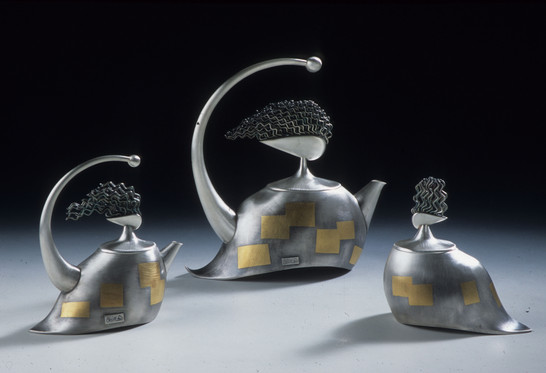 """Perfect Harmony"". 2000-2002. Sterling & fine silver, 24K gold. Collection of Ball State University Museum, Indiana."