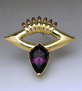 """Amethyst Village"". Brooch-Pendant. 1999. 18K gold, amethyst. 6"" x 6"" x 1"". Collection of the Artist."