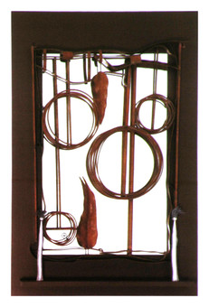 """""""Late Fall"""". Wall mirror. 2007. Silver, copper, brass, patina, wood, mirror. 70"""" x 48"""" x 5"""". Collection of Song Kwang Ja."""