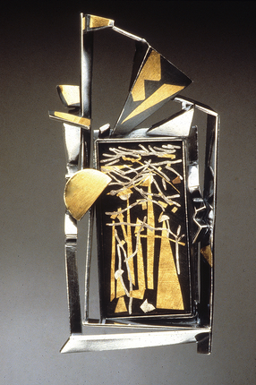 """""""Sunday Outing"""". Brooch. 1990. Fine & sterling silver, 24K gold, steel. 5"""" x 4"""" x 1"""". Private collection, USA."""