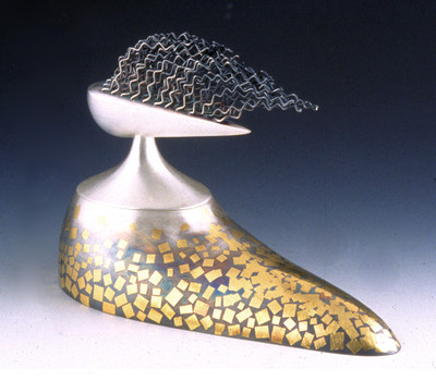 """Autumn Contemplation"". 1999. Fine & sterling silver, 24K gold. 6.5"" x 10"" x 4.5"". Collection of Yunan Museum, Kookmin, China."