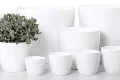 'Alaska' White Glass Pots