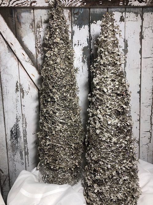 Silver Glitter Tree Set
