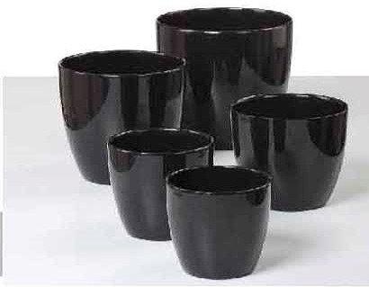 'Schwarz' Black Glazed Glass Pots