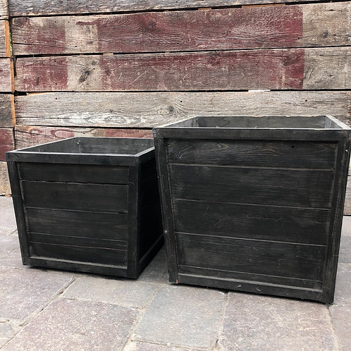 Deep Brown Wooden Planter on Wheels