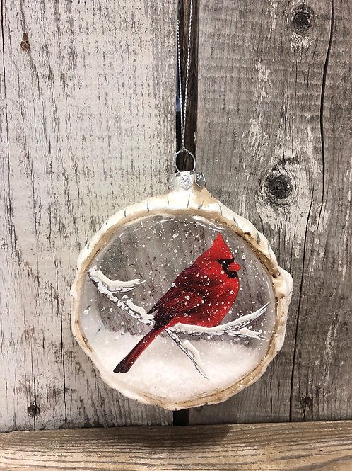 Faux Snow Cardinal Ornament