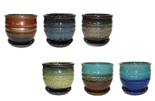 Ceramic Pots with Trays - Assorted