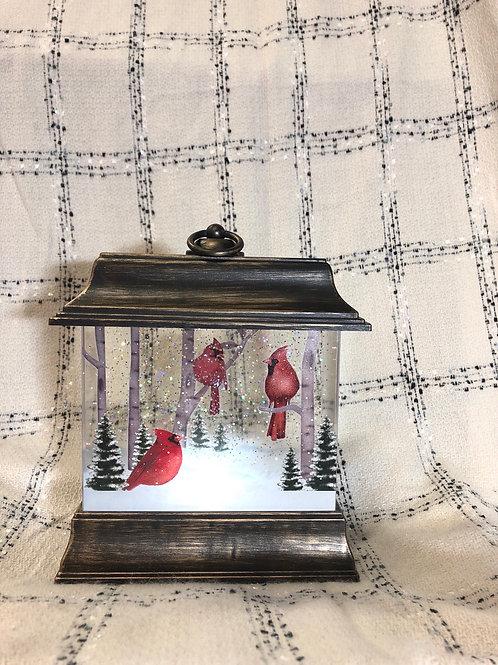 Rectangular Cardinal Glitter Latern