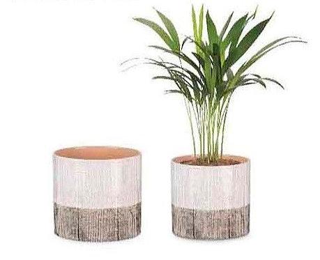 Brown Canvas Glass Pots