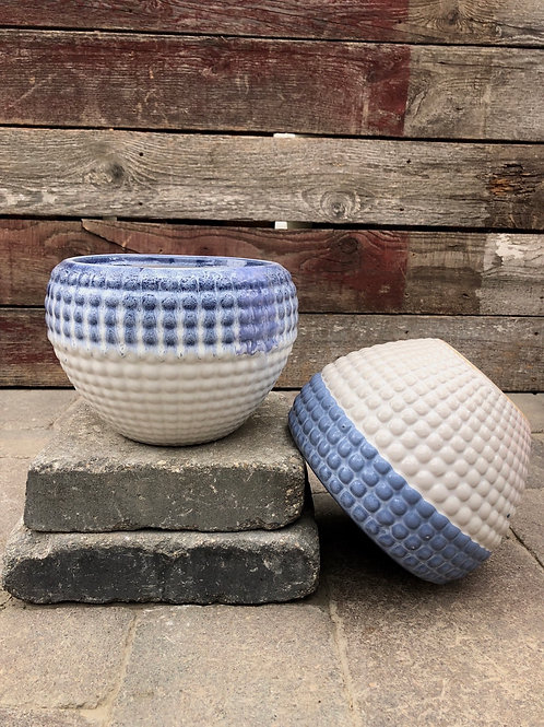 Blue & White Hobnail Planter