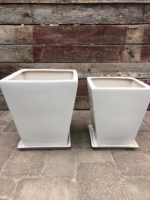 White Square Planter with Saucer