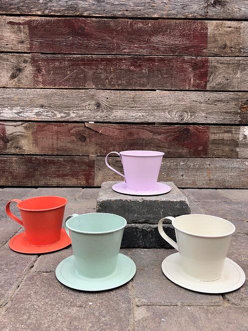 Tin Teacup Planter Assorted