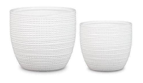'Panna' White Textured Pots
