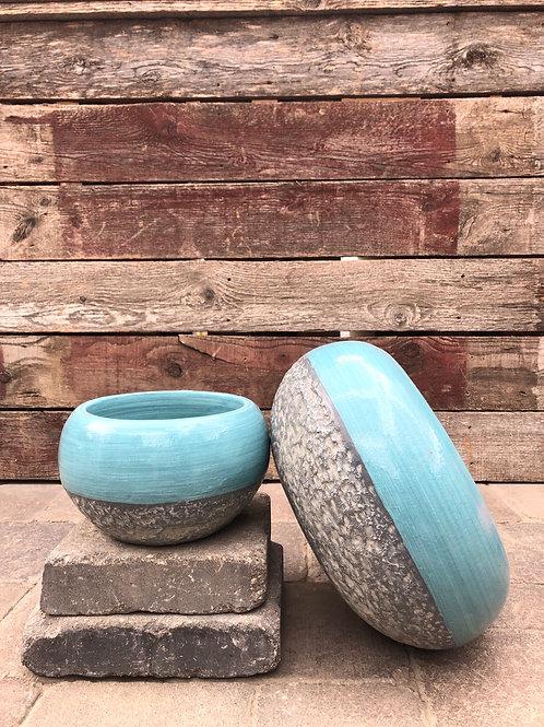 Blue Cement Planters