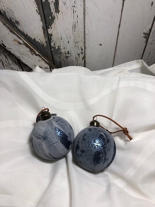 Blue Frosted Glass Ornament