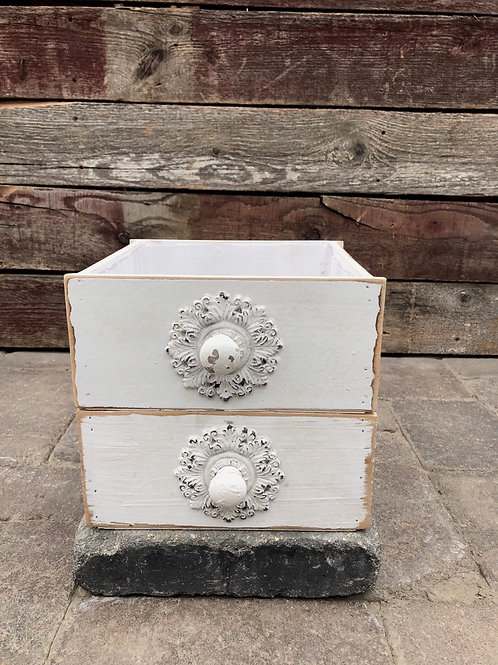 White Wooden Drawer Planter