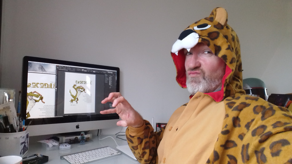 Here I am working away on the book, literally getting into character.