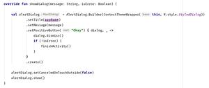 Kotlin code to display an alert dialog