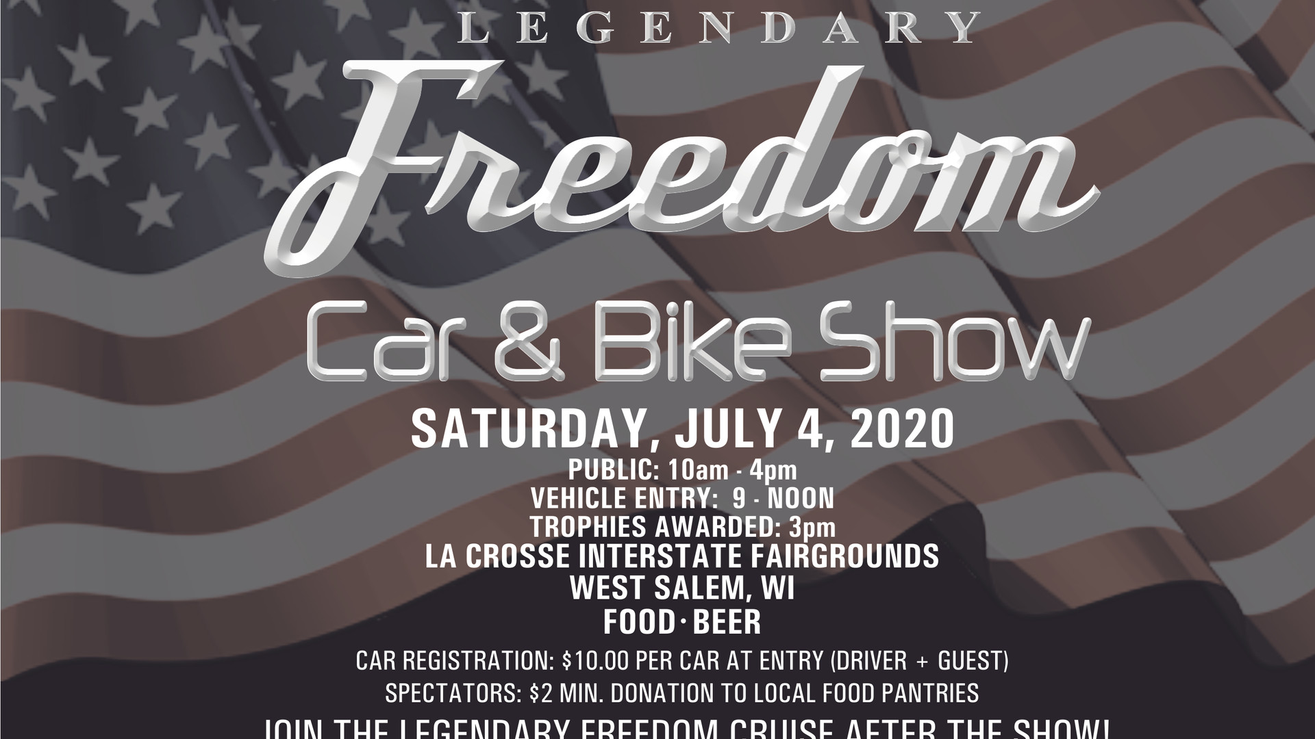 Legendary Freedom Car Show POSTCARD FRON