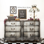 Basset Six Drawer French Provincial Dresser painted in Dixie Belle Paint Hurricane Gray, Cotton, Midnight Sky, and Driftwood with WoodUBend Mouldings