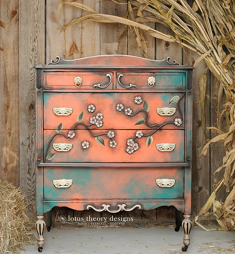 Flowerscape Antique Chest of Drawers