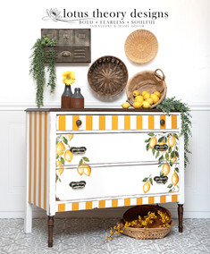 Antique Chest of Drawers Dresser painted in Dixie Belle Paint Cotton and Colonel Mustard with Iron Orchid Designs IOD Lemon transfer