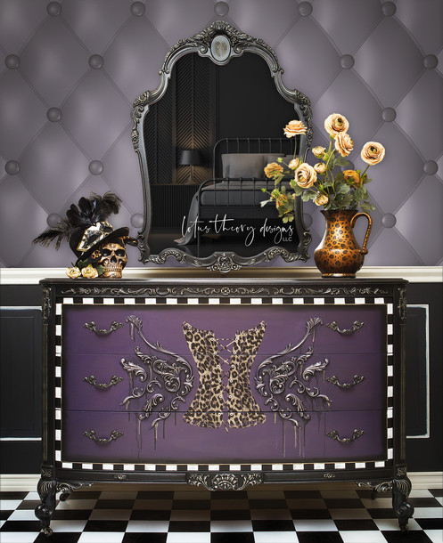 Vintage Ornate Dresser painted in Dixie Belle paints: custom mix of Amethyst, Caviar, and Gold Digger Moonshine Metallics. Cheetah print foil and appliques by WoodUBend