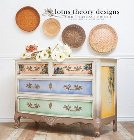 French Provincial Dresser painted in Dixie Belle Paints Drop Cloth, Mud Puddle, Colonel Mustard, Blueberry, Kudzu, and Terracota. Florals are handpainted.