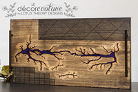 Fractal Wood Burned Lichtenberg Decorative Tray with Purple Epoxy and Hand burned designs
