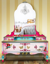 Antique vanity dressing table painted in Dixie Belle Paint pinks with whimsical design, black and white checks, blended paint, and redesign with Prima transfer Royal Burgundy