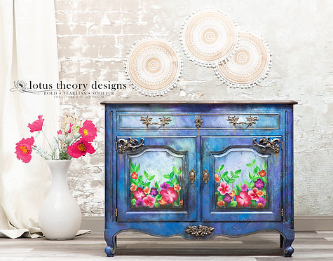 Handpainted Flowers French Provincial Server Buffet