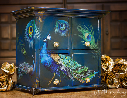 Decorative Box painted in a blend of Dixie Belle Paints using redesigns with Prima Peacock transfer