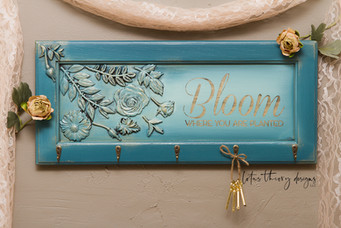"""Bloom Where You Are Planted"" Wall Decor with Hooks. Painted in Dixie Belle Paint Antebellum Blue and Sea Glass with re•design with Prima Moulds"