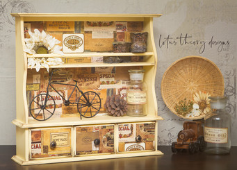 """Fun knick knack shelf painted in Rebel Yell-Ow by Dixie Belle Paint and re•design with Prima """"Vintage Cigar Box"""" Decor Transfer"""