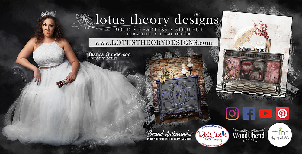 Logo for Lotus Theory Designs, furniture makeovers, custom painted furniture, and furniture painting tips.