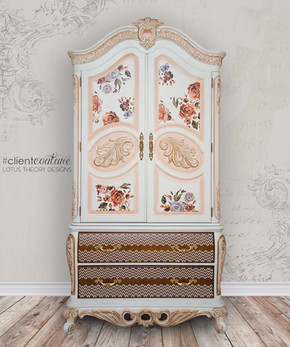 Large Armoire with Prima transfers Rose and Rogue. Painted in white with peach accents. Stain drawer fronts with white stencil work bring this piece to life!
