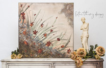 The Meadow handpainted wall art on canvas using Dixie Belle Paints to create a flower-scape and meadow