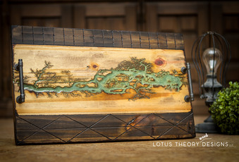 Fractal Wood Burned Lichtenberg Decorative Tray wi Green Epoxy and Hand burned designs