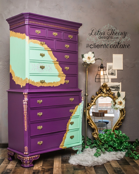 Purple and sea foam green tallboy with gold leaf