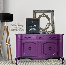 Gorgeous Vintage French Provincial Thomasville Sideboard Buffet painted in Purple Odyssey by Dunn Edwards with Black Accents