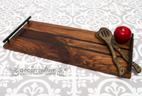 Handmade Walnut Charcuterie Board with Black Epoxy Inlays and Odie's Oil Surface