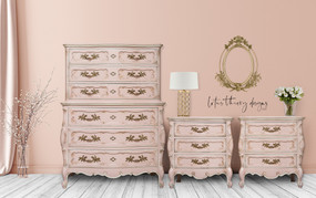 Thomasville French Provincial Bombay Tallboy Dresser and Two Nightstand Set painted in #dixiebellepaint Tea Rose with accents of Drop Cloth, Mud Puddle, and Coffee Bean.