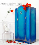 Art Deco Vintage Wardrobe painted in Dixie Belle Cobalt Blue and Peacock with WoodUBend Mouldings added