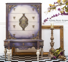 Unique Tall Antique Chest of Drawers painted in Dixie Belle Paint Aubergine and Sand Bar with WoodUBend Mouldings and D. Lawless Hardware