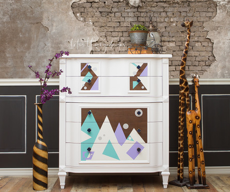 Geometric Tallboy Dresser Chest of Drawers painted with Dixie Belle Paint Fluff with Lucky Lavender and The Gulf
