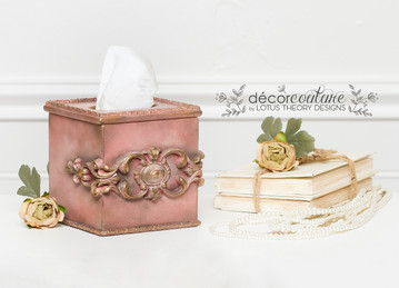 Painted Tissue Box in a custom mix of Dixie Belle Paint Tea Rose and Rusty Nail with WoodUBend Mouldings