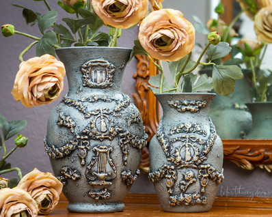 Upcycled Glass vases from Goodwill transformed into beautiful, textured art!