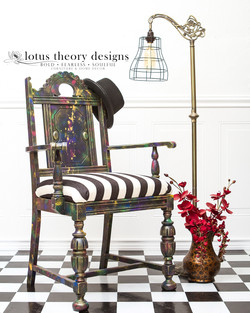 Jacobean chair painted in several Dixie Belle colors to create a galaxy, color bombed look.