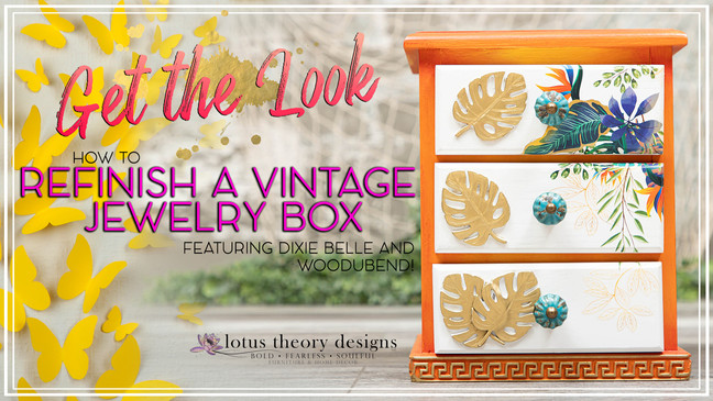 How to Paint a Tropical Theme on a Vintage Jewelry Box using Dixie Belle Paint & WoodUbend Products!