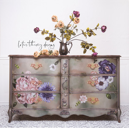 French Provincial Dresser blended in Dixie Belle Moonshine Metallics with redesign with Prima Lush Florall II Decor Transfer